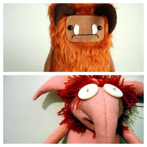 Labyrinth Firey and Ludo Plush Goblin David Bowie. Jim Henson.