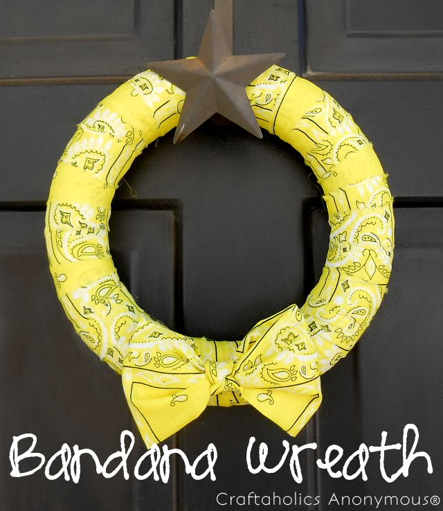Cheery yellow Bandana Wreath. Perfect for a western or Cowboy birthday party too.