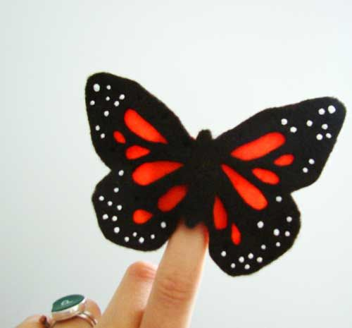 Monarch Butterfly Felt Finger Puppet