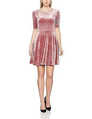 22, Pink (Rose/Peach), Dorothy Perkins Women's Velour Scoop Neck Dress NEW