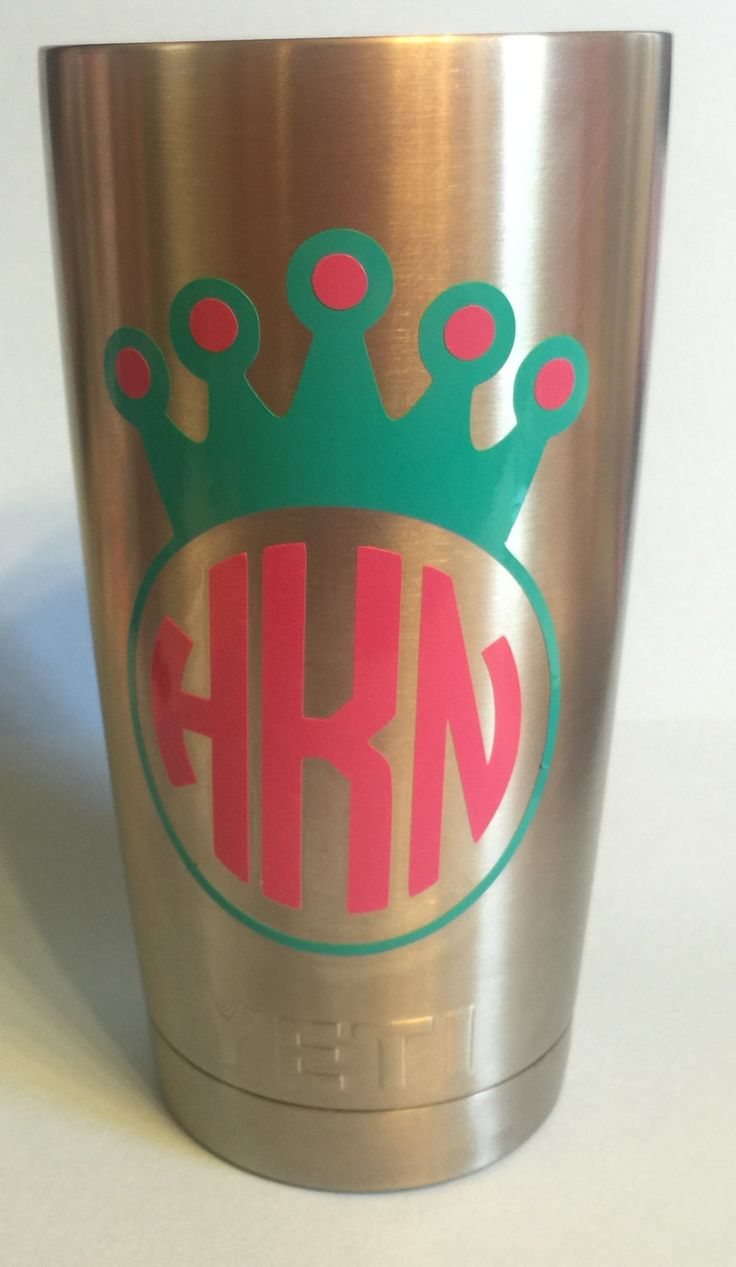 Circle Princess Crown Monogrammed Personalized Yeti
