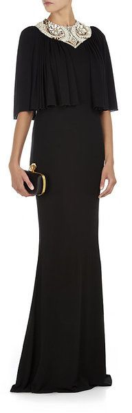 Alexander Mcqueen Embellished Cape Gown in Black (pearl) - Lyst