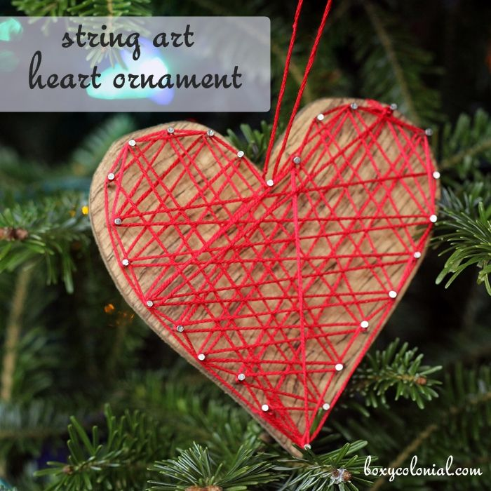 heart shaped string art ornament tutorial....last second Christmas present or for Valentine's Day