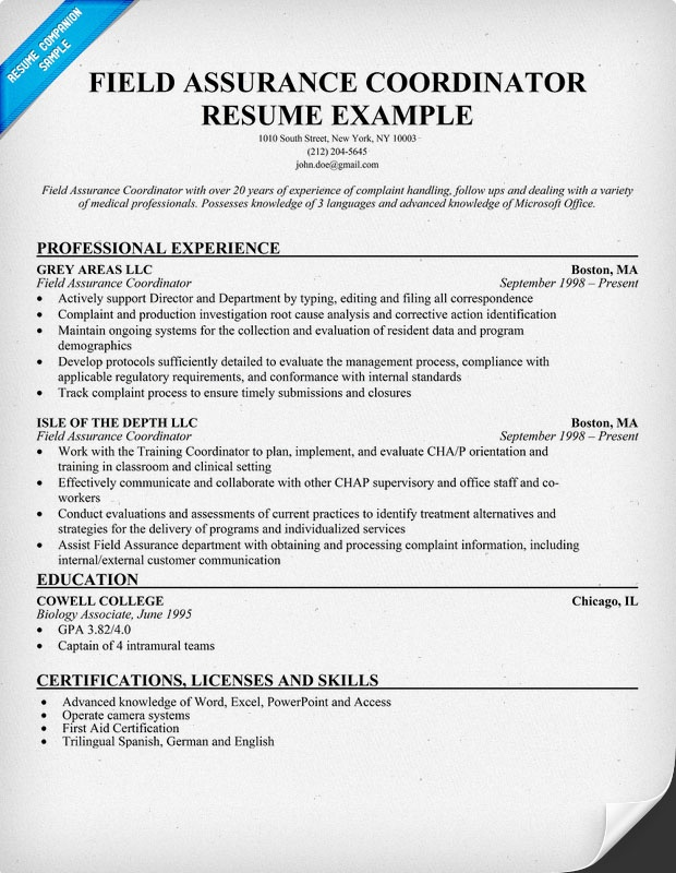 Field Assurance Coordinator Resume Sample