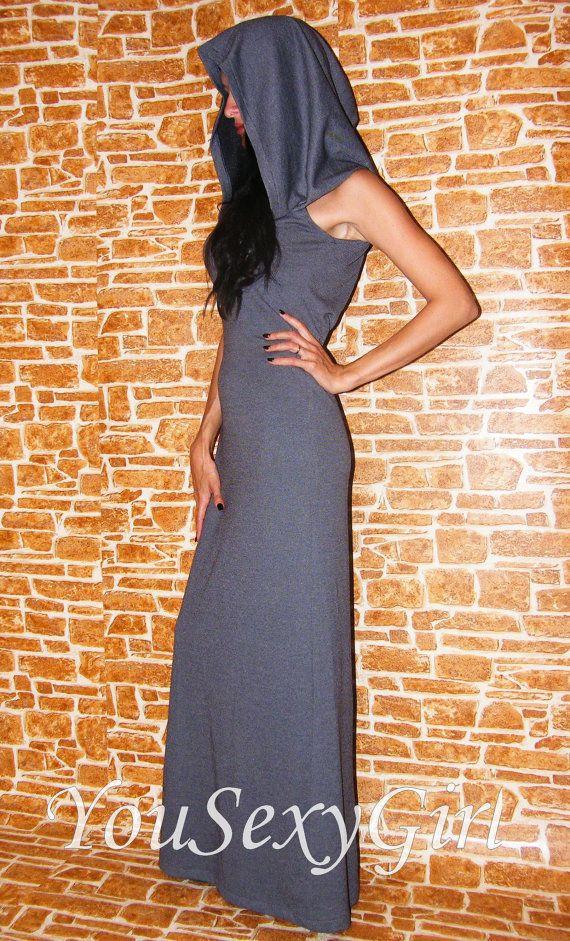 Gray Long Dress with a Hood Hoodies dress maternity-dress