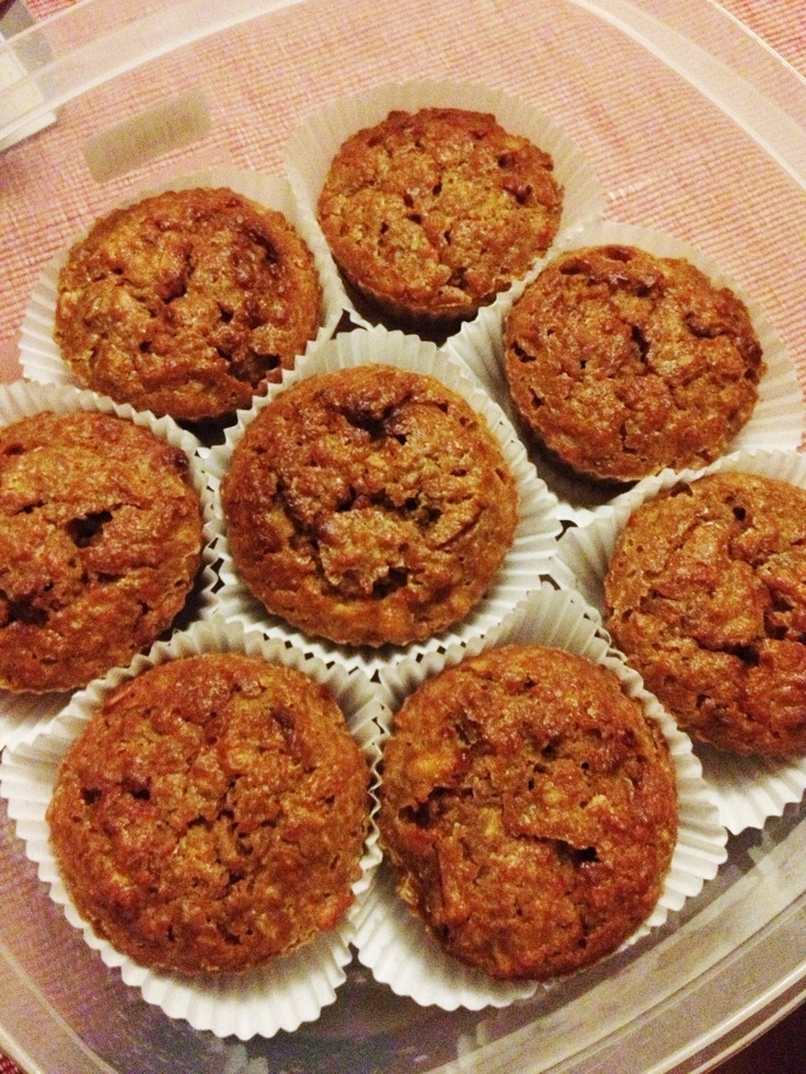 Carrot, apple, cinnamon muffins :) about 160 cals per serving