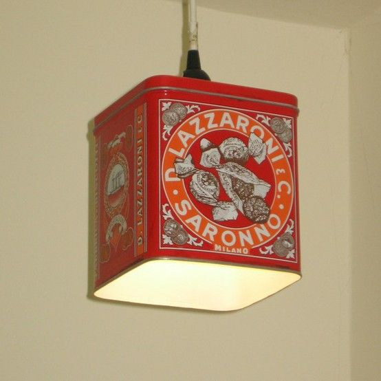 Old tin cans turned into light fixtures