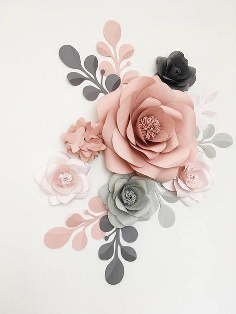 Königliche Papier-Blume-Set in hellgrau, Altrosa und grau – eleganten Papierblumen – Altrosa und grau Kinderzimmer Papierblumen (Code #109)