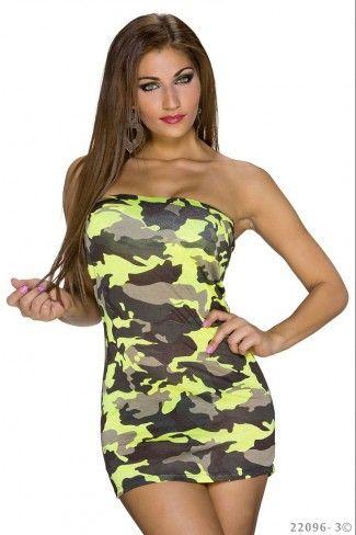 Στρατιωτικό στράπλες μίνι φόρεμα - Κίτρινο Καμουφλάζ