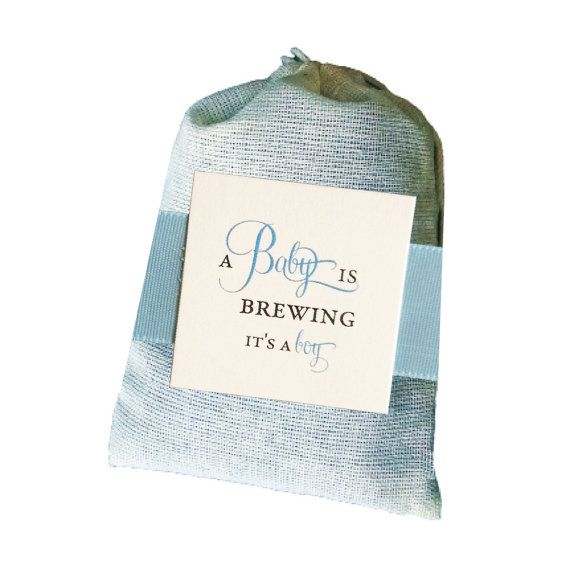 What better way to celebrate the arrival of a new baby boy then with these adorable A Baby Boy is Brewing favors. These little bags of comfort make