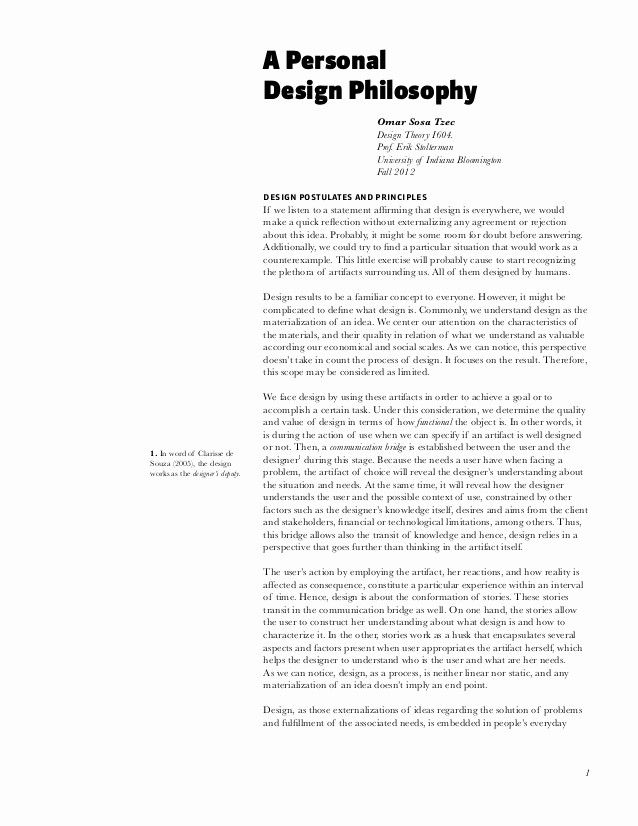 Personal Philosophy Essay Unique A Design Reflective Example About