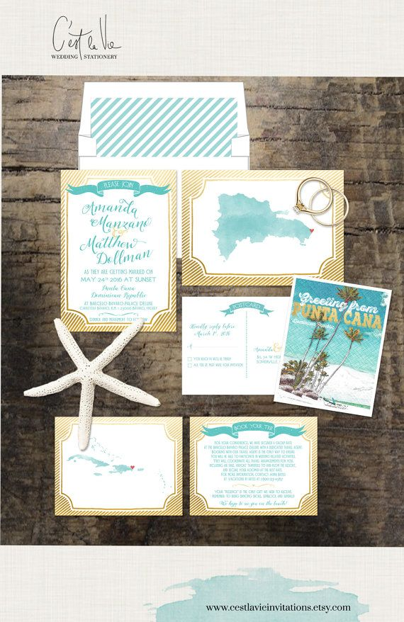 destination wedding invitation rsvp date%0A Destination wedding invitation Caribbean Wedding Invitation Dominican  Republic  Deposit Payment  Blue Faux Gold