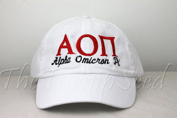 Alpha Omicron Pi Sorority Baseball Cap  Custom by TheTurnipSeed, $12.00