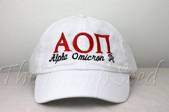 Alpha Omicron Pi Sorority Baseball Cap - Custom Color Hat and Embroidery.