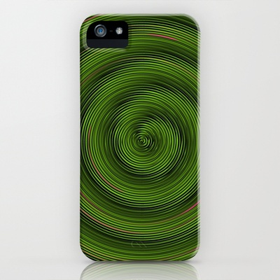 Crazy Green Spiral iPhone Case by Johannes Beilharz - $35.00