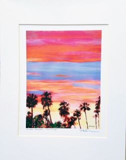 """Silver Sunset, tropical feeling in this painting by RD Riccoboni   FREE SHIPPING ON THIS PRODUCT  Product Information Hand Signed 8"""" x 10"""" Print by the artist. This makes a special gifts, memento or souvenir and is perfect for the home or office. All prints are custom manufactured using archival inks and acid-free paper. This signed print is matted and will fit right into your own premade 11 x 14 inch frame.  Where do you see this hanging in your house or work space?  This print is signed…"""