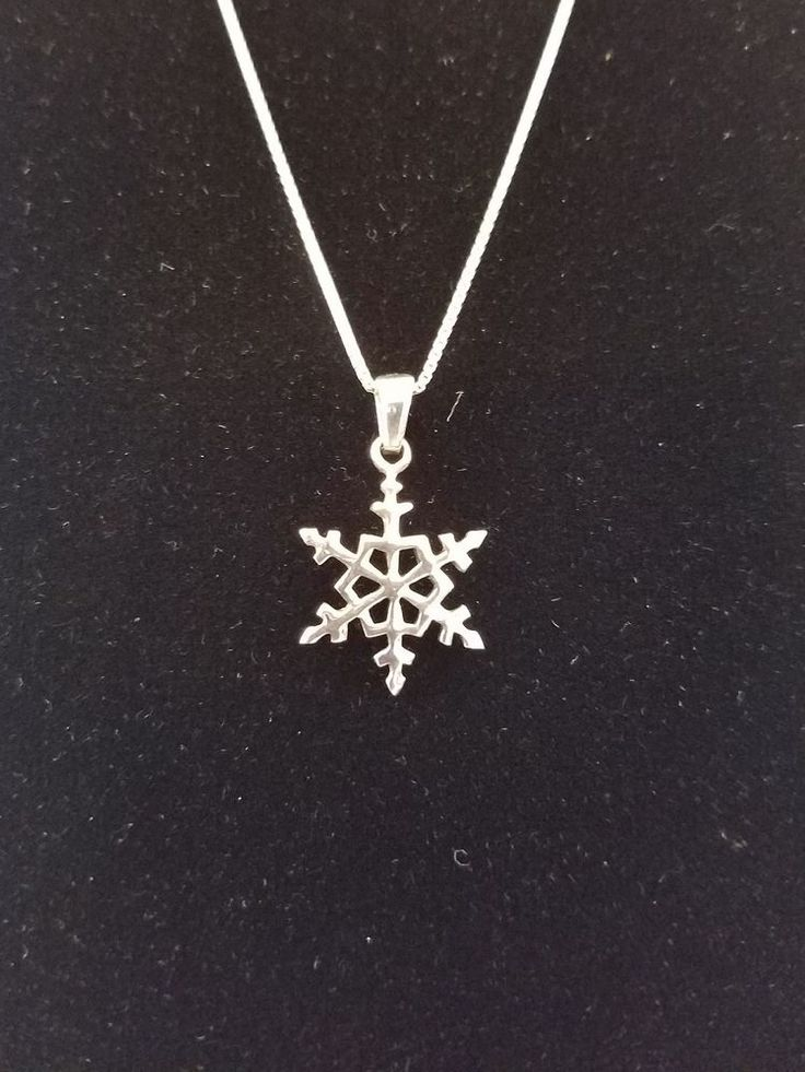 Sterling Silver Snowflake Shaped Pendant w/Italian Box Chain Signed FAS & 925 #Unbranded #Pendant