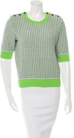 Carven Three-Quarter Sleeve Crew Neck Sweater