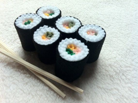 Sushi Roll Felt Play Pretend Food Kids Toy Kitchen accessories 7 piece set of Sushi
