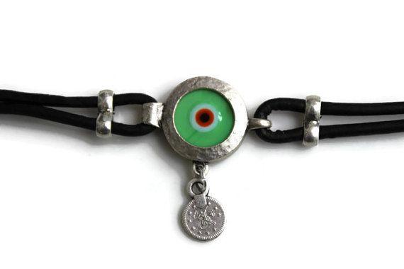 Evil Eye Bracelet Turkish Evil Eye Evil by PepperPotLeatherShop, $43.99
