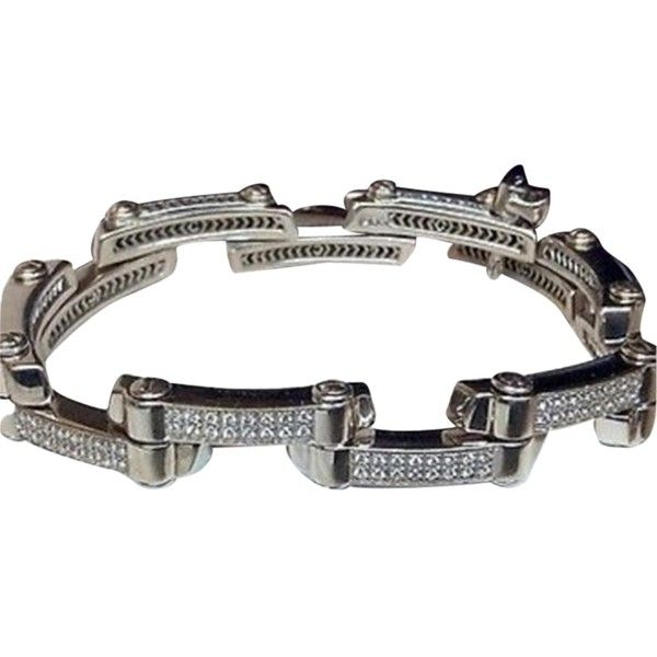 Pre-owned Philippe Charriol 2000 Millennium 18k White Gold Diamond... ($4,500) ❤ liked on Polyvore featuring jewelry, bracelets, accessories, cabochon jewelry, white gold bangle, diamond bangle, diamond jewelry y 18k jewelry