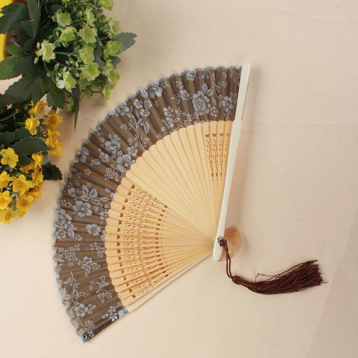 Handmade Chinese Folding Bamboo Silk Flower Pattern Hand Fan Dance Party Wedding Prom
