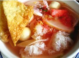 Yen-Ta-Fo :Flat rice noodles in red soup with pork, squid, fish ball and jelly fish from Pattaya Bay Restaurant in Los Angeles #Food #Rice #Restaurant forked.com