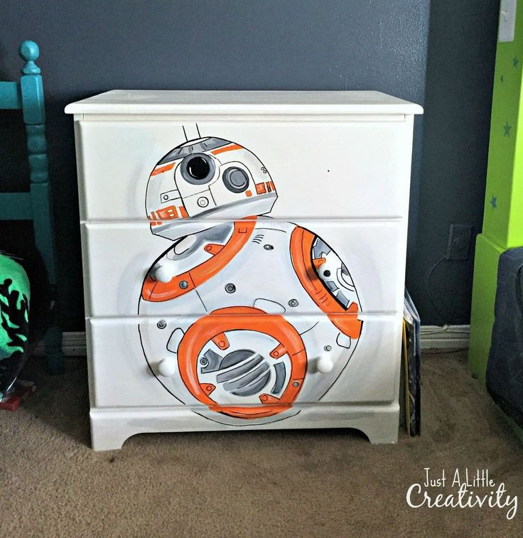 As part of my boys room makeover, I hand painted an unfinished wood dresser as my son's favorite Star Wars character the BB8 Droid. As you can see from the befo…