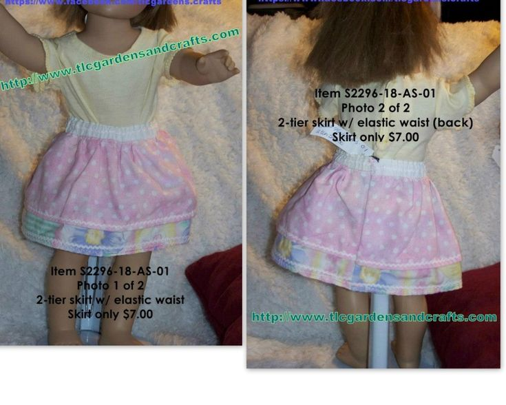 Two-Tier Skirt, Pink Polka dots and floral with baby rick-rack trim for 18 inch doll Item S-2296-18-AS-01