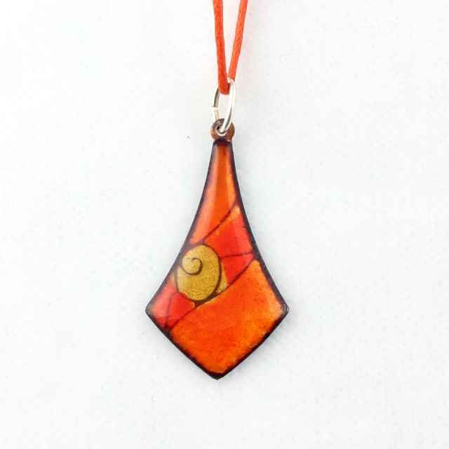 Orange and yellow enamel necklace by intuitashop on Etsy