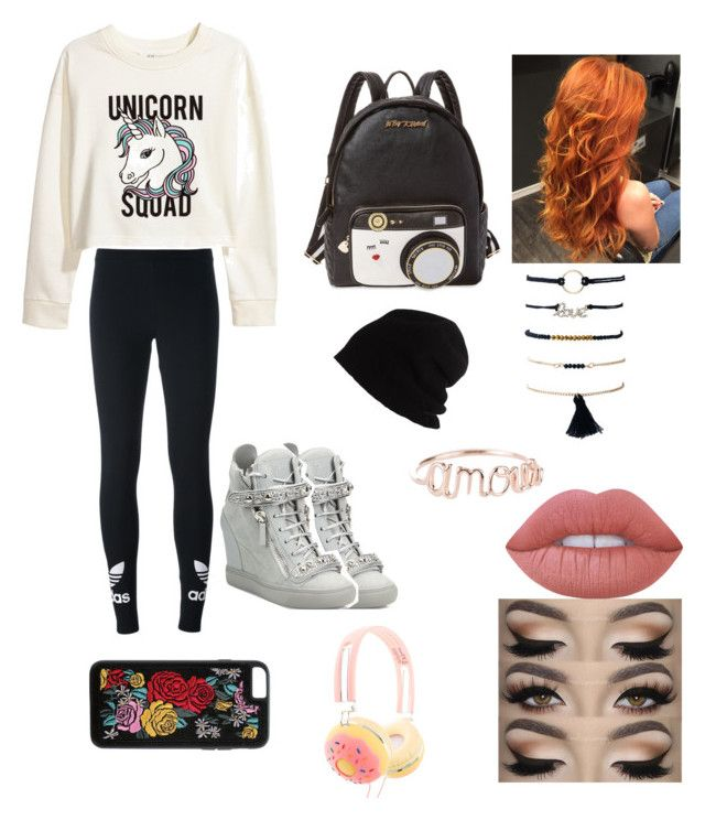 """""""Untitled #32"""" by maria-klrt on Polyvore featuring H&M, adidas Originals, Giuseppe Zanotti, Betsey Johnson, SCHA, Boohoo and Lime Crime"""