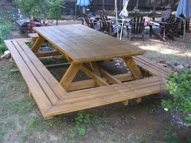 Custom Made Picnic Tables, Large Thru-Bolt Picnic Tables, Redwood Picnic Table. Wide Wrap Around Bench by MidCenturyWoodShop on Etsy https://www.etsy.com/listing/129640779/custom-made-picnic-tables-large-thru