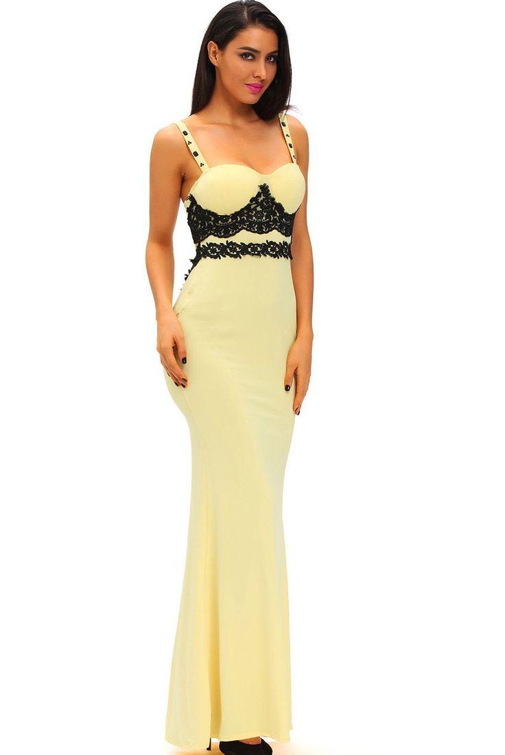 Robes De Soiree Noire En Dentelle Jaune Long Prom Party Maxi Robe Pas Cher www.modebuy.com @Modebuy #Modebuy #Jaune #Jaune #Noir #me