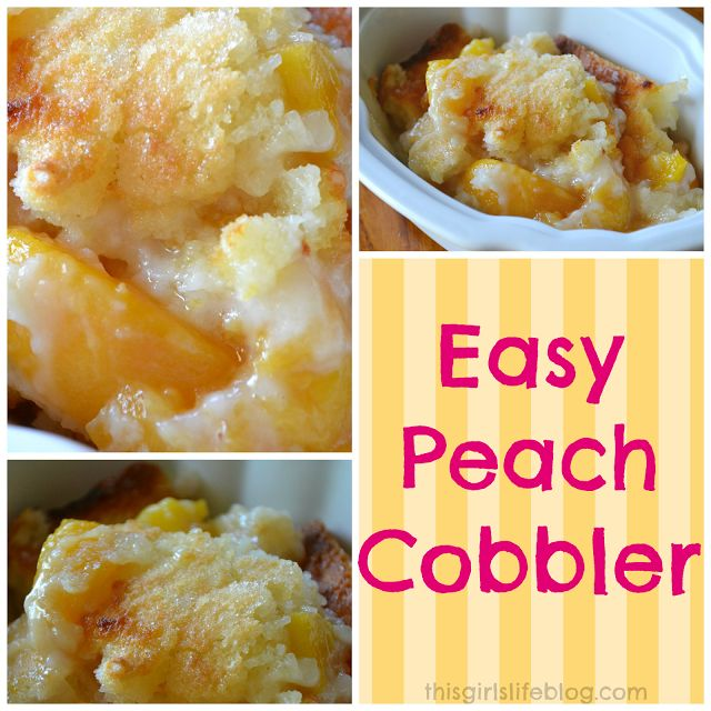 Easy Peach Cobbler. This dish is great by itself but super delicious with vanilla bean ice cream. Yum!! This is a simple recipe and probably the easiest way you can make peach cobbler.