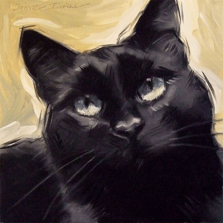 Original oil painting of a black cat, 6 x 6 inches by Diane Irvine Armitage. PaintingsFromTheParlor.Blogspot.com