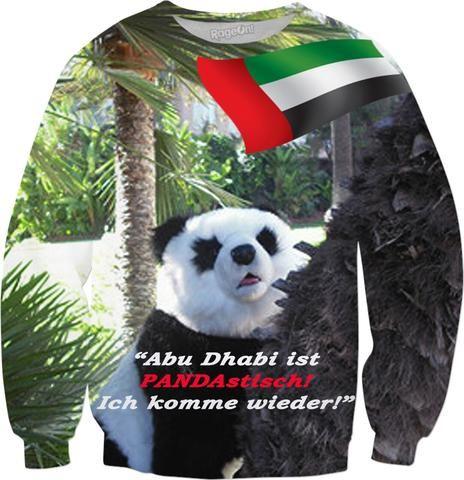 """Custom Sweatshirt: Abu Dhabi! """"Abu Dhabi ist PANDAstisch!"""" Ihr ausgefallenes, modisches Mitbringsel aus Abu Dhabi, das allen beweist: Sie sind ein richtiger Weltenbummler! Und das Coolste daran: Sie müssen nicht einmal vom Sofa aufstehen – Ihr Souvenir kommt per Post ins Haus! Auch in Englisch, Spanisch, Italienisch und Französisch erhältlich!"""