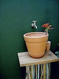 Resultado de imagem para pia de banheiro com bacia de aluminio