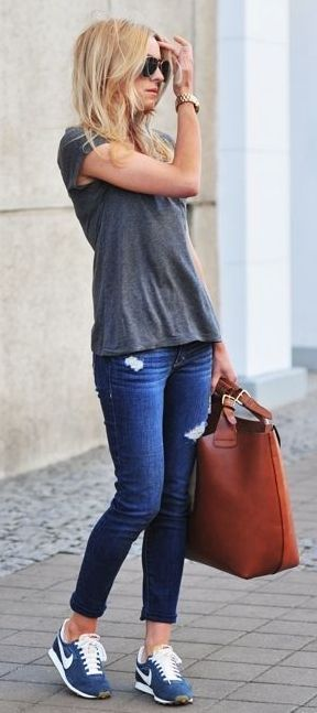 Plain gray tee, ankle jeans, blue Nikes, and a brown tote - awesome casual look!