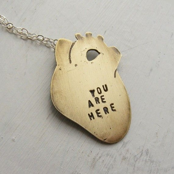 Anatomical Heart Necklace You Are Here Brass Medium Size