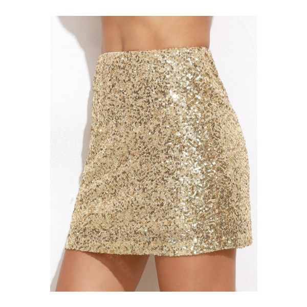 SheIn(sheinside) Gold Embroidered Sequin Mini Skirt ($13) ❤ liked on Polyvore featuring skirts, mini skirts, gold, brown a line skirt, brown mini skirt, short mini skirts, short skirts and stretch skirts