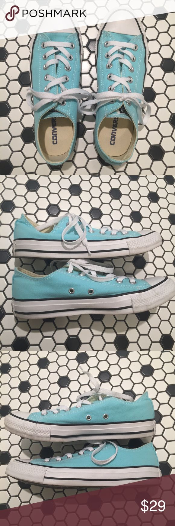 Turquoise converse Worn twice, great condition. No major flaws. Just decided I have too many tennis shoes. Women's size 7 and I normally wear an 8- converse runs big. If you're a 7.5/8 normally these will fit fine. Happy to answer questions for you. Bundle to save! Converse Shoes Sneakers