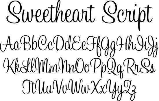 Script sweetheart writing cursive template