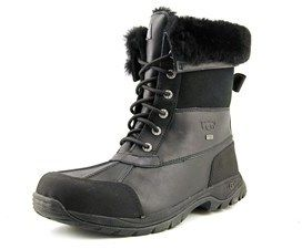 UGG Butte Men Round Toe Leather Black Snow Boot.