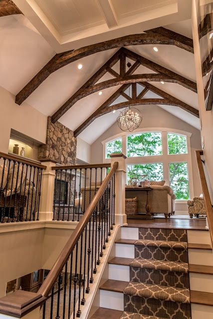 Real Fit Housewife: Welcome to my Home: Our Little Slice of Heaven  rustic beams, cedar beams, carpet runner, stairs, design