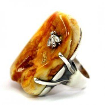 Bursztyn, pierścionek z pszczołą ze srebra - unikat BM Rzeszów