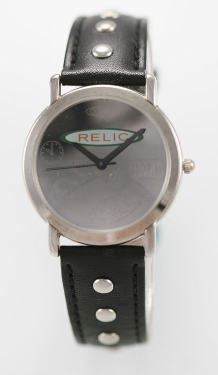 Relic Watch Men Stainless Steel Silver Black Leather Water Resist Battery Quartz