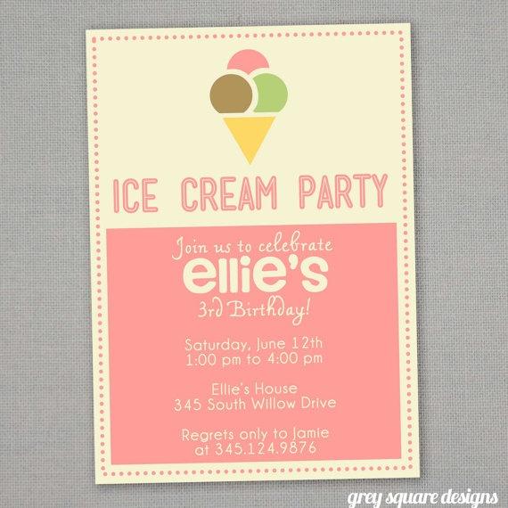 Ice Cream Birthday Invitation G S B Day Pinterest