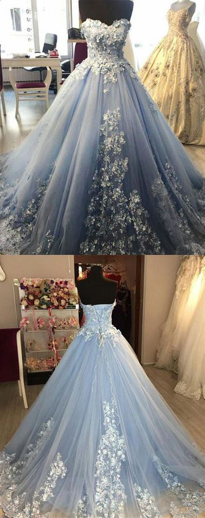 Blue sweetheart tulle long prom/evening dress #prom #promdresses #evening #eveningdresses