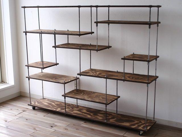 wood iron shelf 970*1200*225 | ハンドメイド、手作り作品の通販 minne(ミンネ)