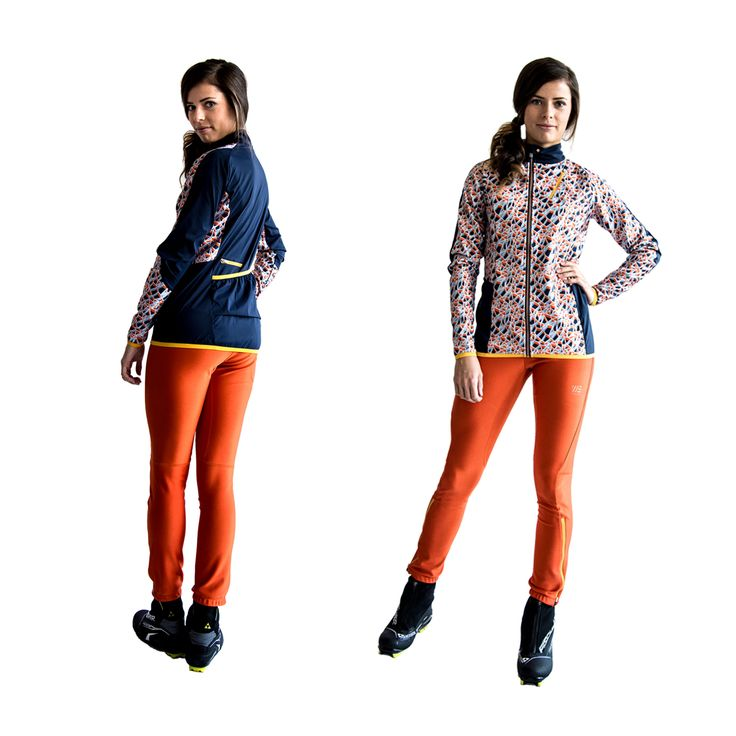 SWEARE XC 50/50 Jacket in the printed pattern Ice crack and the XC 360 Pant in the color Orange break. All our fabrics with graphical patterns are printed with environmentally friendly colors in Sweden. These products are perfect for autumn and winter running and of course for XC skiing. #älskasnö #vasaloppet #älskaåre #längdskidåkning #running #trailrunning #vinter